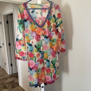 Other - Small floral swimsuit coverup with poms